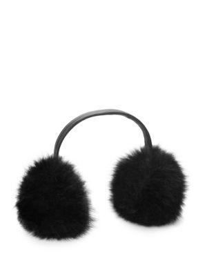 ANNABELLE NEW YORK Dyed Fox Fur Earmuffs in Black
