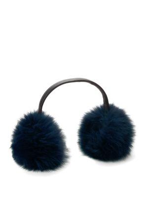 ANNABELLE NEW YORK Dyed Fox Fur Earmuffs in Navy