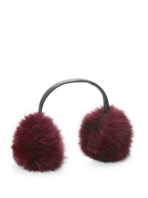 ANNABELLE NEW YORK Dyed Fox Fur Earmuffs in Sangria