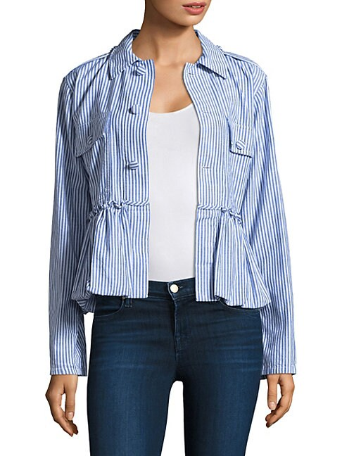 HARVEY FAIRCLOTH Striped Bubble Cotton Jacket in Blue Multi