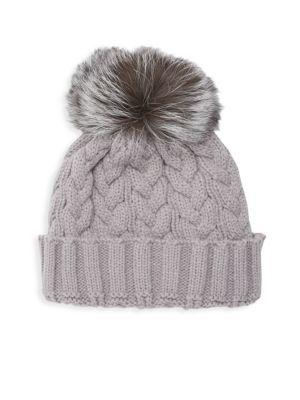 Adrienne Landau Natural Fox Fur Pom Pom Hat In Grey  c9ae0a40cb4