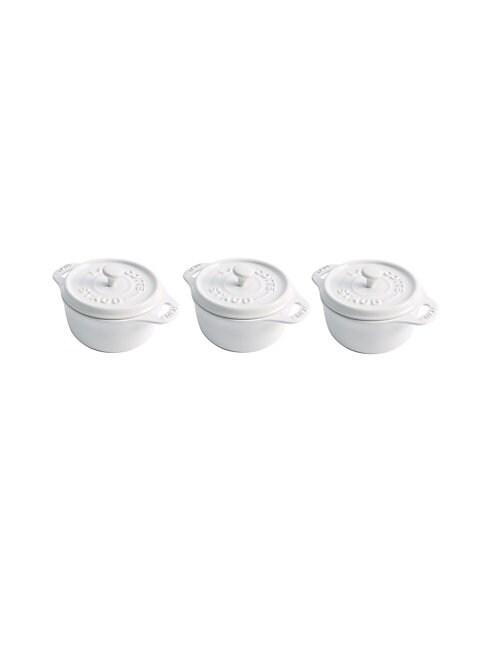 Staub Round Mini 4 Cocotte, Set Of 3 In White
