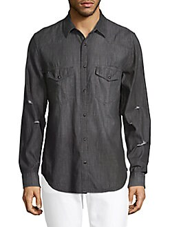 7 For All Mankind - Distressed Cotton Button-Down Shirt