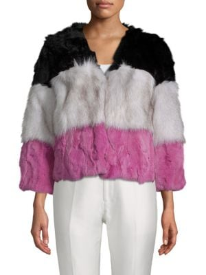 Adrienne Landau Stripe Dyed Rabbit and Natural Fox Fur Jacket