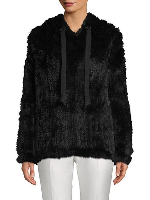 ADRIENNE LANDAU Knit Rabbit Fur Hoodie, Black