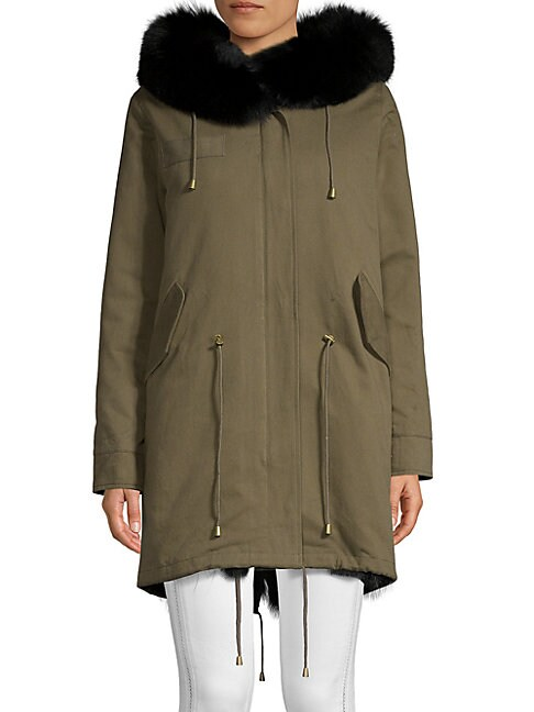 PERI LUXE | Dyed Fox Fur-Trimmed Cotton Hooded Parka | Goxip