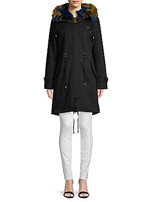 Fox Fur Trim Sheepskin Jacket by Peri Luxe