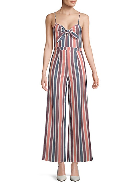 FREE GENERATION | Striped Tie-Front Jumpsuit | Goxip