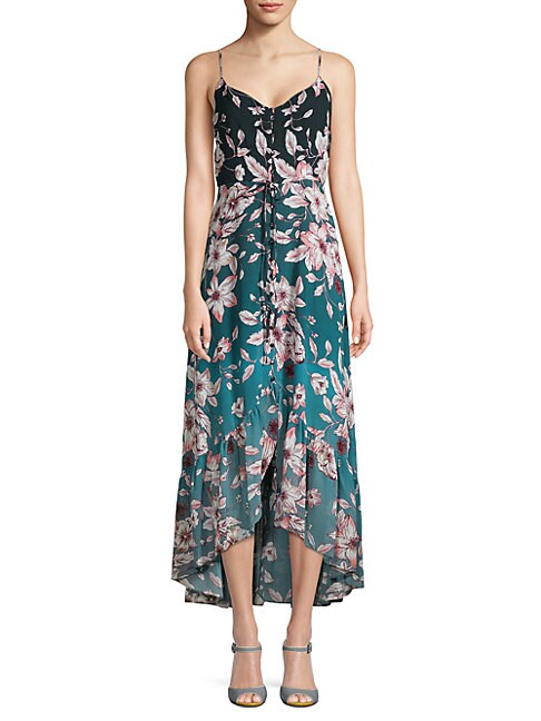 Floral Spaghetti-Strap Hi-Lo Dress