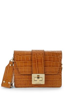 Valentino By Mario Valentino Leathers Crocodile Embossed Leather Shoulder Bag