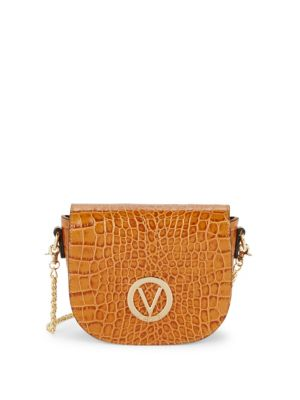 Valentino By Mario Valentino Josette Crocodile Embossed Saddle Bag