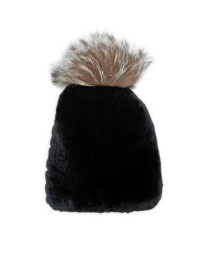 ANNABELLE NEW YORK Chloe Rabbit Fur Beanie in Black