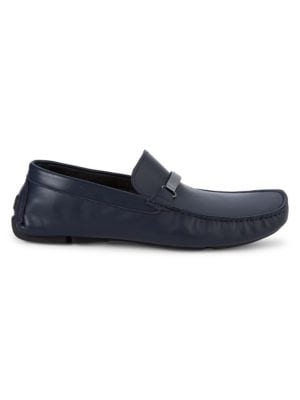 Versace Logo Plaque Leather Loafers In Blue Navy