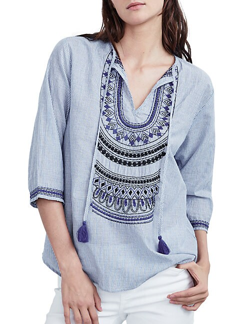 TWELFTH STREET BY CYNTHIA VINCENT Relaxed Cotton Embroidered Blouse in Blue