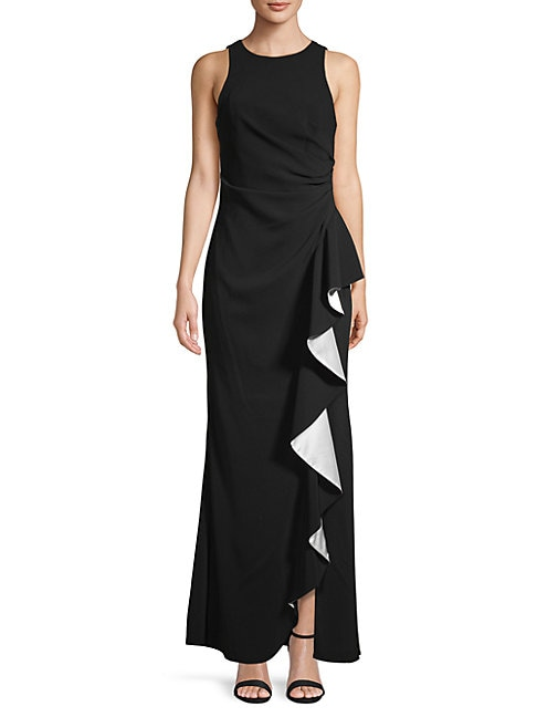CARMEN MARC VALVO INFUSION   Ruffle Front Gown   Goxip