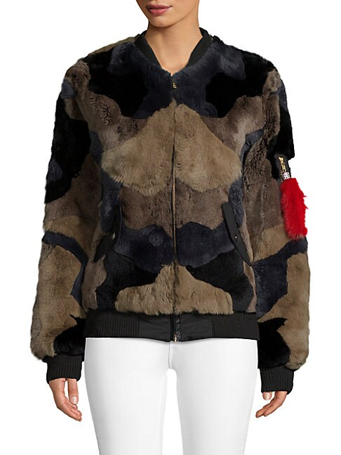 Adrienne Landau RABBIT FUR BOMBER JACKET