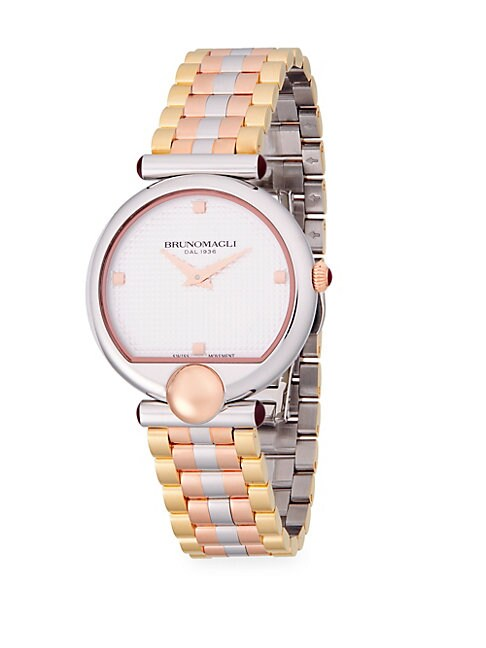 Tri-Tone Stainless Steel Bracelet Watch