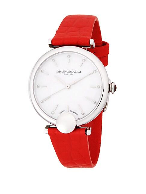 Round Textured Leather-Strap Watch