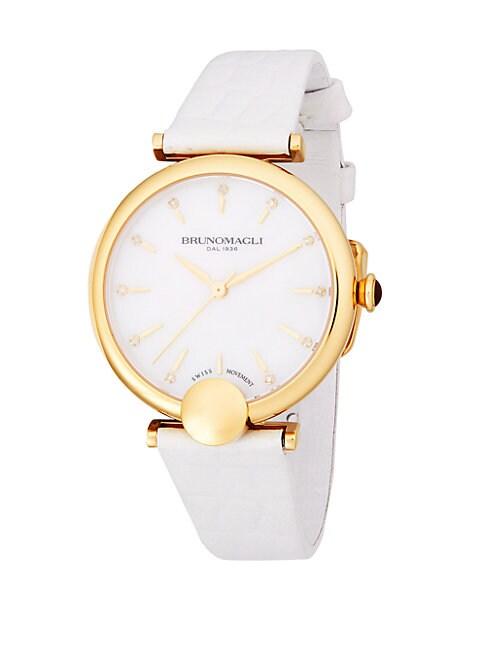 Embellished Goldtone Leather-Strap Watch