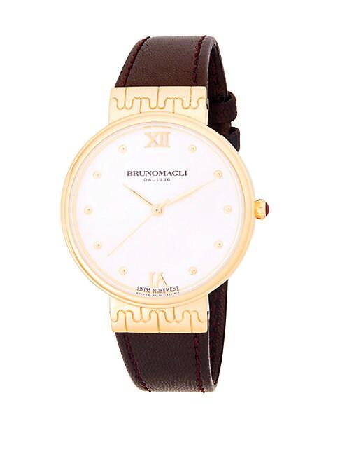 Goldtone Round Leather-Strap Watch