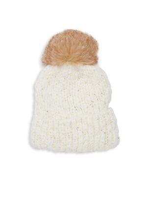 Surell Bling Fox Fur Pom Pom Beanie