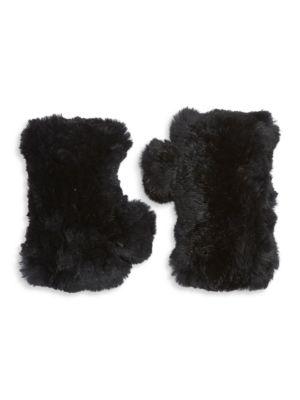 Surell Dyed Rabbit Fur Fingerless Gloves