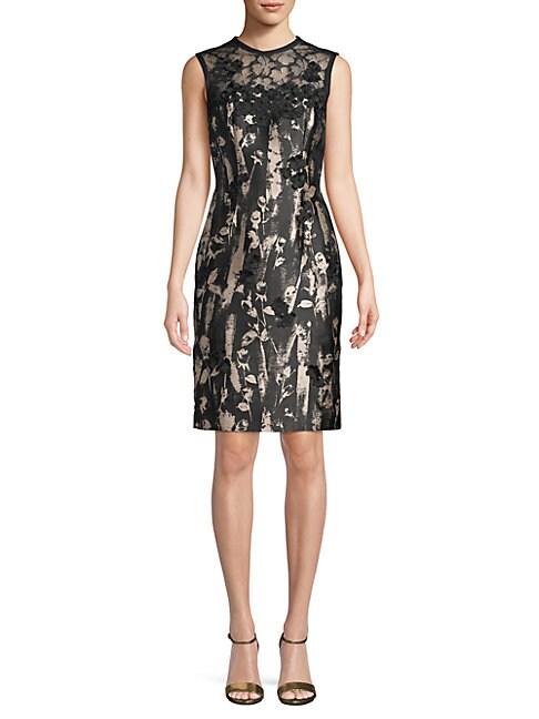 Floral-Applique Sheath Dress