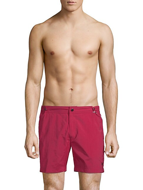DANWARD Zippered Swim Trunks in Ruby
