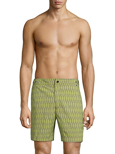 DANWARD Printed Flat Front Swim Trunks in Green