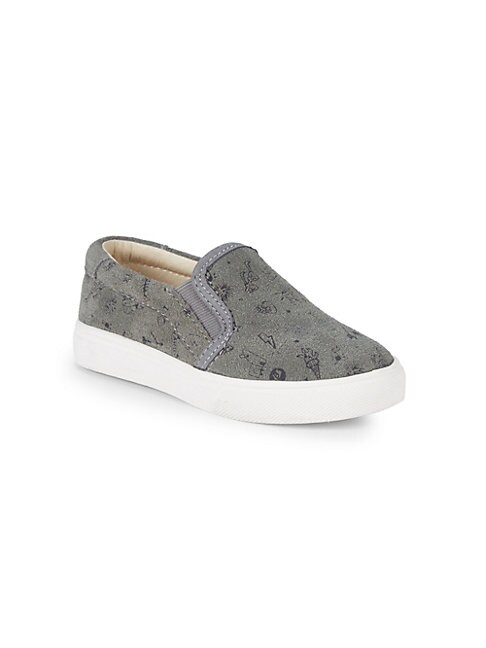 AKID Little Girl'S Liv Doodle Slip-On Suede Sneakers