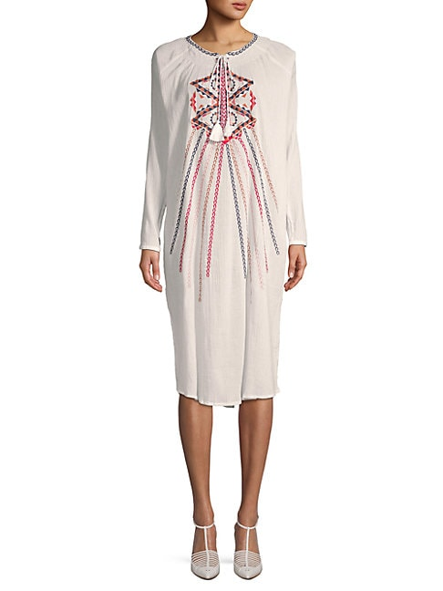 Embroidered Cotton Shift Dress