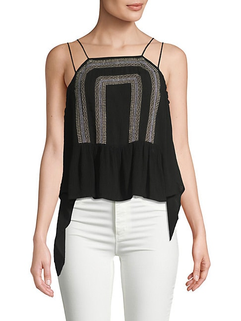 Draped Embroidery Halter Top