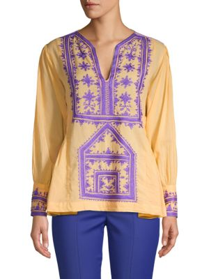 Antik Batik Embroidered Cotton Blouse