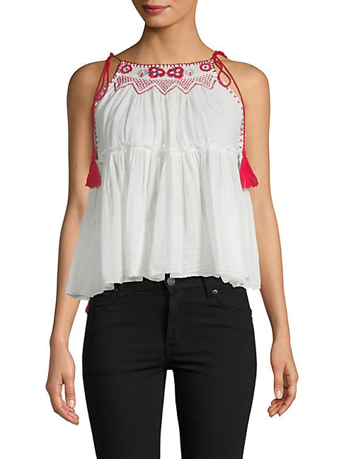 Embroiderd Flounce Top