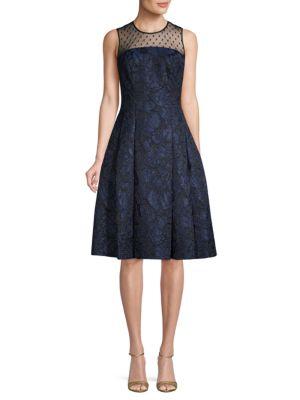 Carmen Marc Valvo Brocade Knee-Length Party Dress