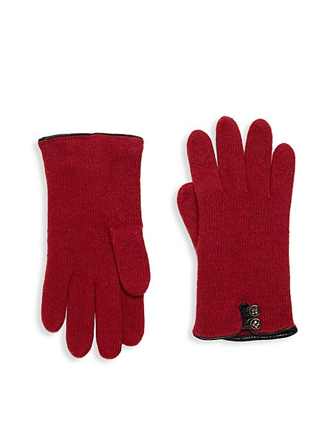 LEATHER-TRIMMED CASHMERE GLOVES