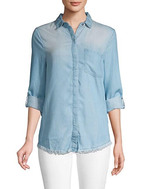 BEACH LUNCH LOUNGE | Frayed Button-Down Shirt | Goxip