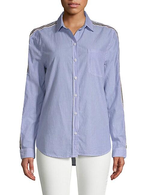 BEACH LUNCH LOUNGE | Striped Long-Sleeve Cotton Shirt | Goxip