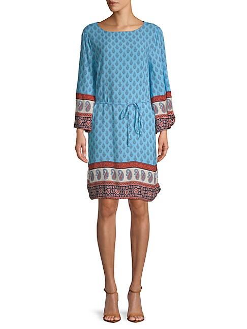 BEACH LUNCH LOUNGE | Belted Long-Sleeve Shift Dress | Goxip