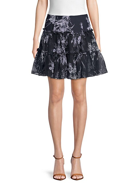 Inky Floral Silk A-Line Skirt