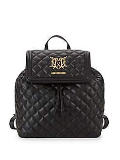 Love Moschino - Quilted Faux Leather Drawstring Backpack