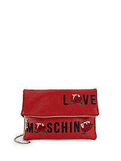 Love Moschino - Embroidered Faux Leather Shoulder Bag
