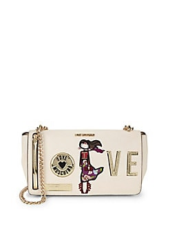 Love Moschino - Embroidered Patch Faux Leather Crossbody Bag