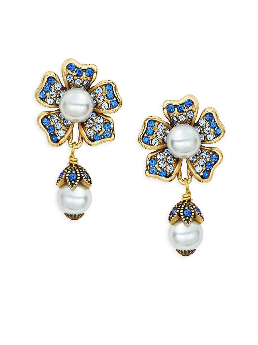 Women's Multicolored Crystal & Beaded Floral Drop Earrings