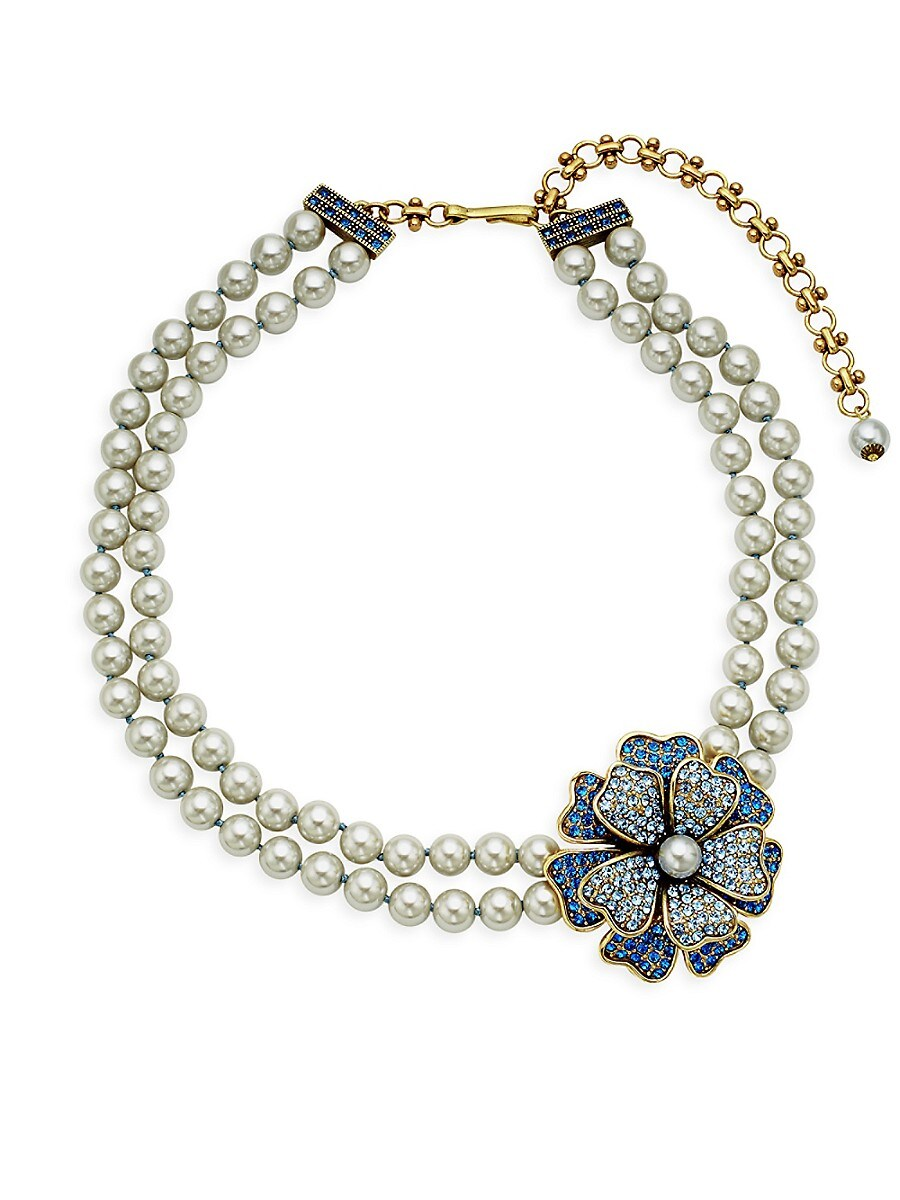 Women's Multicolored Crystal Two-Row Necklace