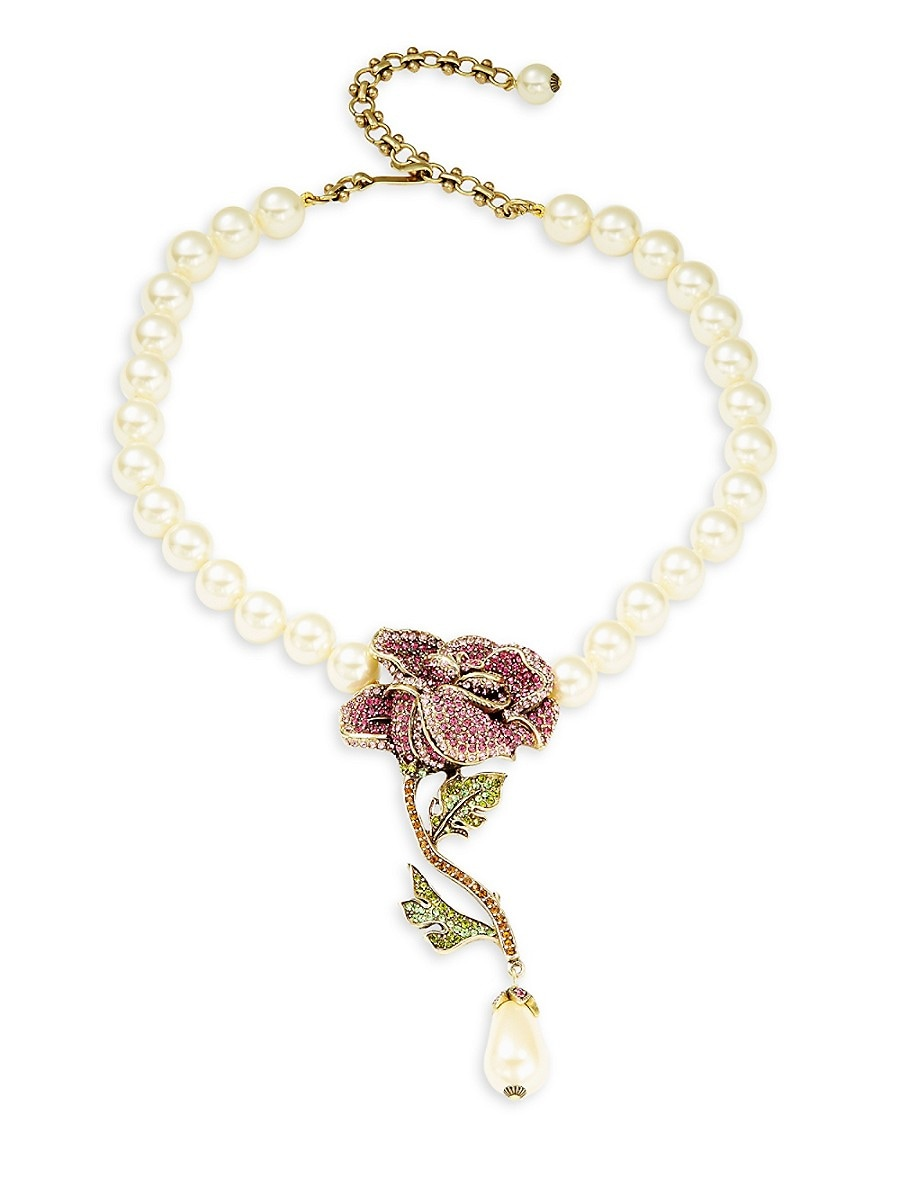 Women's Faux Pearl & Crystal Rose Necklace