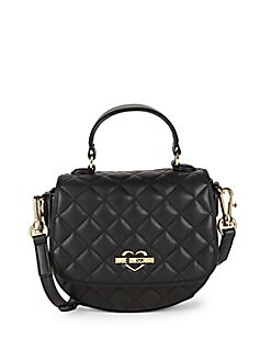 Love Moschino - Quilted Faux Leather Top Handle Bag