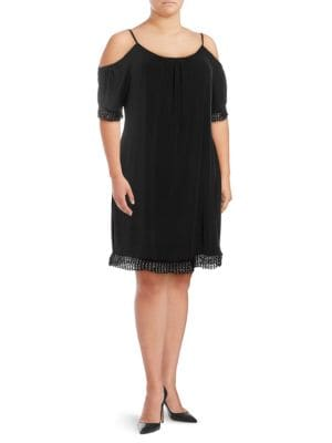 Abs By Allen Schwartz Plus Lace-Trimmed Cold-Shoulder Dress