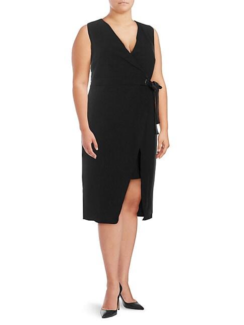 ABS | Plus Faux-Wrap Dress | Goxip