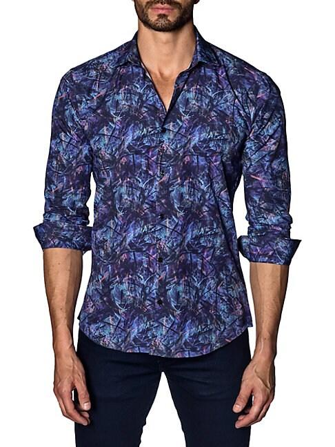 Printed Cotton Button-Down Shirt
